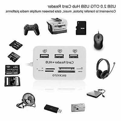 ERCRYSTO Card Reader and 3 Ports Usb Hub, High Speed Externa