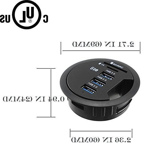 Jgstkcity In-Desk 3 Port charger SD USB Power,Can Charge for iPad/Tablet and iPhone/Smart