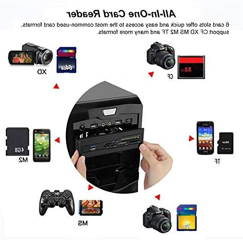 """fosa Internal Reader, Multi-Function Dashboard USB Port Support M2 MS XD Card for Fits any 5.25"""" Front Bay"""