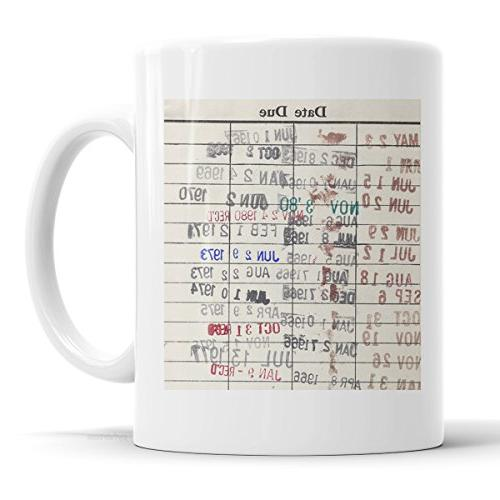 library due date card coffee