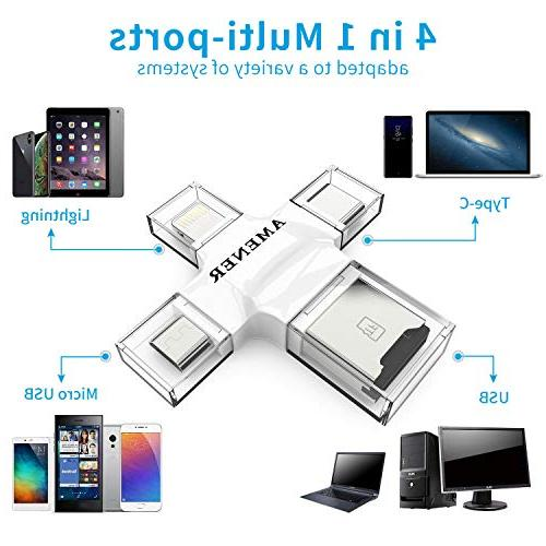 Micro USB Card Readers Card Reader for Smartphone Laptop, Card with USB C, Micro USB, Interfaces, Picture and Video Viewer for