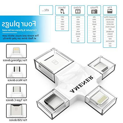 Micro USB Adapter Card Readers Micro Card Reader for Laptop, with Lightning, C, Micro USB, USB Viewer Camera