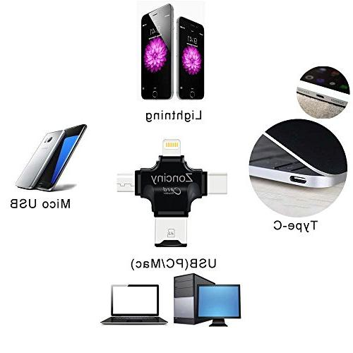 Micro USB Adapter 4 in 1 Micro SD Adapter iPad Mac Android and PC GB to 256 GB