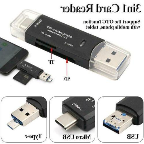Mini USB OTG 3in1 Type-C Card Reader For Phone Tablet SD TF