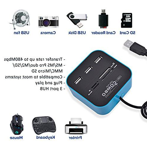 LLP Pack in Premium Combo Multi-in-1 Reader 3 Ports Hub Port Adapter Memory Card for MS/MS PRO Duo Micro Reader for Notebook Camera