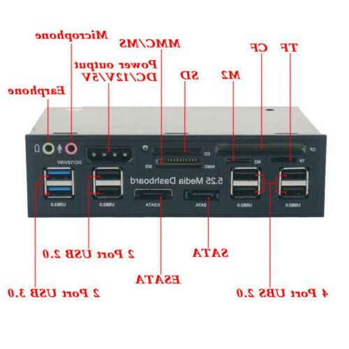 """US 5.25"""" Card Media Dashboard Front USB All-in-1"""