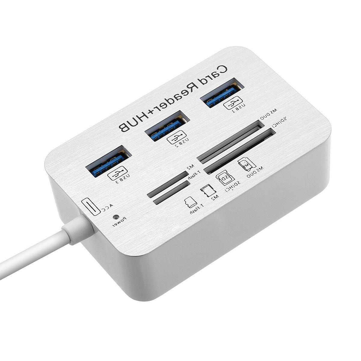 Aluminum USB 3.0 Hub M2 TF Card Reader Adapter