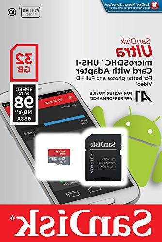 32GB SanDisk Class UHS-1 Memory Card for 1080p, Dome, Home 2, White Black Surveillance with But Card Reader