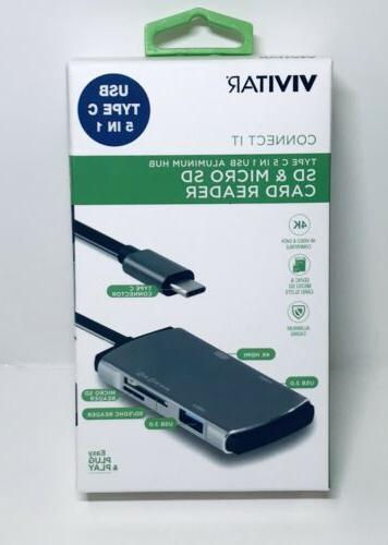 Vivitar, USB Type C, 5in1, SD & Micro SD Card Reader 4234