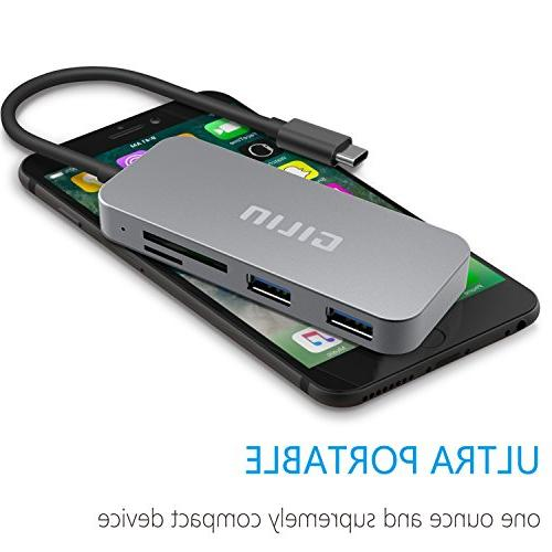SD Card USB C Adapter Micro Card Reader USB and 3.0 Ports Hub for 2016 C