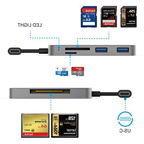 SD Card Reader, Card and 2USB Hub 2016 Pro more USB C Devices