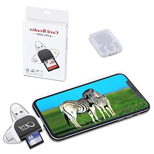 Bewon SD Memory Reader Adapter,Trail Camera for iPhone Android & Lightning Type 4 in 1