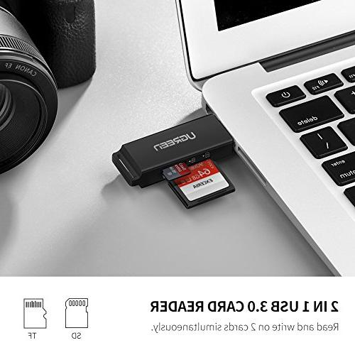 UGREEN Card Portable USB Dual Slot Flash Adapter SD, SDHC, MMC, Micro SDXC, Micro for Mac, Chrome, PC, Laptop