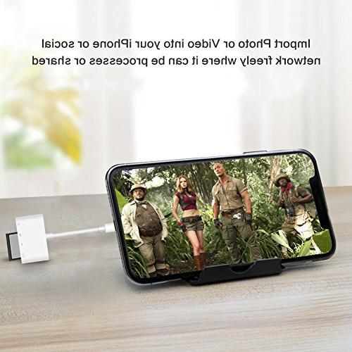 SD in 1 Camera Reader Adapter Lightning to USB Kit SD/TF Card Reader Trail Game Card Viewer for iPhone iPad