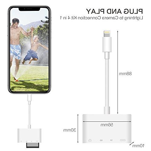 SD Card 4 in 1 Reader Adapter Cable, to USB Kit Trail Game Camera Viewer for iPhone iPad