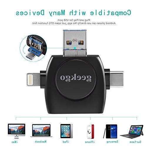 Geekgo Card Micro SD USB Card Adapter Viewer for iPhone iPad Android Mac,Compatiable with Micro USB C 4