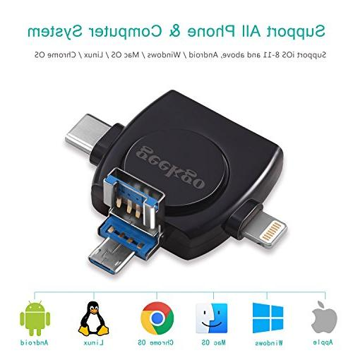 Geekgo Card Reader,Memory Micro Card Adapter Viewer iPhone Android Apple Mac,Compatiable with Lightning USB Type in