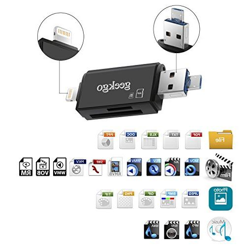 Geekgo SD USB Card Reader Adapter Viewer iPhone - Supports USB 3 1