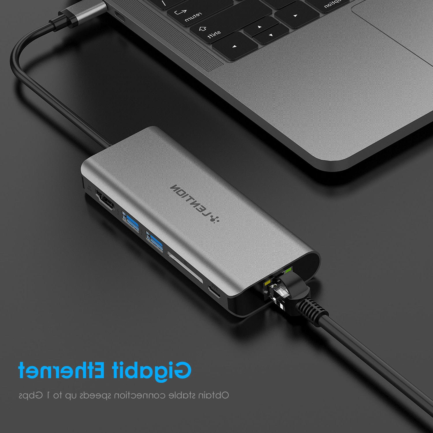 Thunderbolt 3 USB-C HUB HDMI Ethernet Adapter PD Charger Car