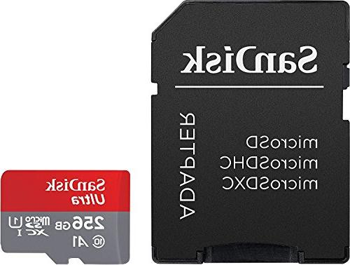 SanDisk 256GB MicroSDXC UHS-I Memory Card with Adapter - U1, HD, A1, Micro SD SDSQUAR-256G-GN6MA