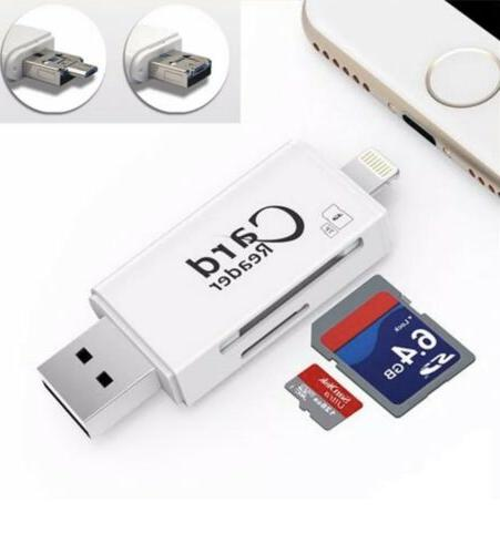 USB 2.0+Lightning+Micro 3 in 1 reader Android iOS