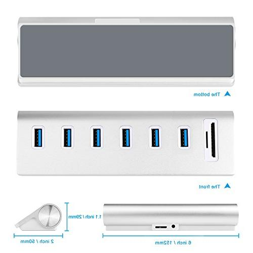 Cateck 6-Port Aluminum Hub Card Reader Combo and 5V/4A High-Capacity for Air, Mac Laptops