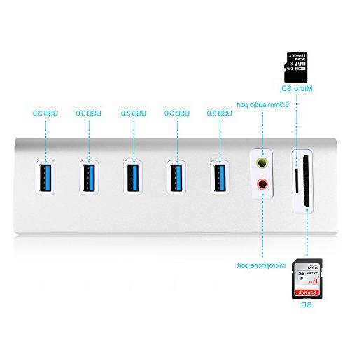 Cateck USB Hub with Sound Adapter 2-Slot Card for MacBook Pro, MacBook, Mac Mini,