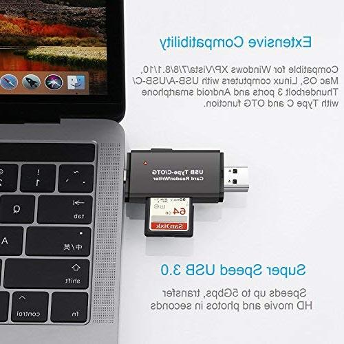 Vanja USB Card Reader, Type C SD Reader OTG SDXC, SD, RS-MMC, Micro SD, SDHC Card and Cards