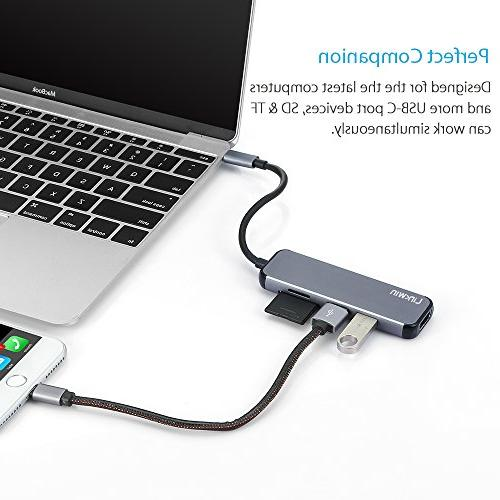 USB C C HDMI USB C with USB Card for MacBook Google Chromebook, S8/S9,HP/Dell