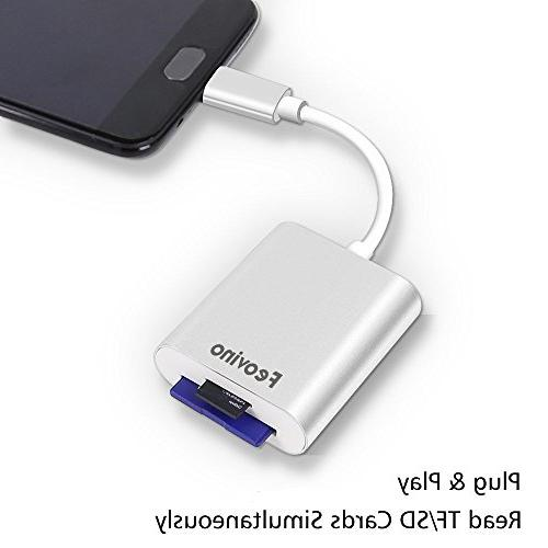 """Feovino Reader, USB C Memory Card for SD Card/Micro Card/TF Card for Pro 2016/2017, 12"""" More USB C"""