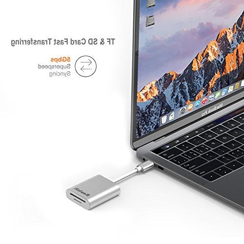 USB C Reader USB 3.0 2-In-1 Card Reader for SD Card/Micro Card/TF Card MacBook Pro/Samsung and more C Devices