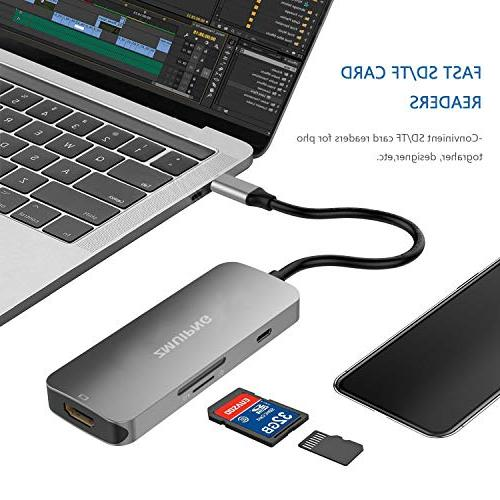 USB C Adapter for 2018/2017, MacBook Air Surface Book in Thunderbolt 3 with SD/Micro SD 4K Ports,USB C