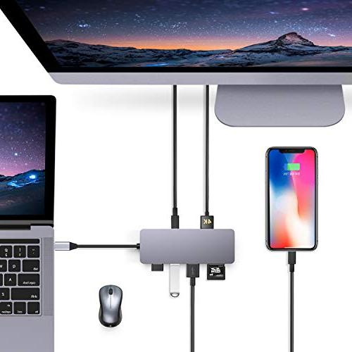 GIKERSY USB C Hub,7 in 1 Type C Adapter USB3.0/2 USB2.0 Card Reader,Compatible with Air Pro 2016/2017/2018 Devices