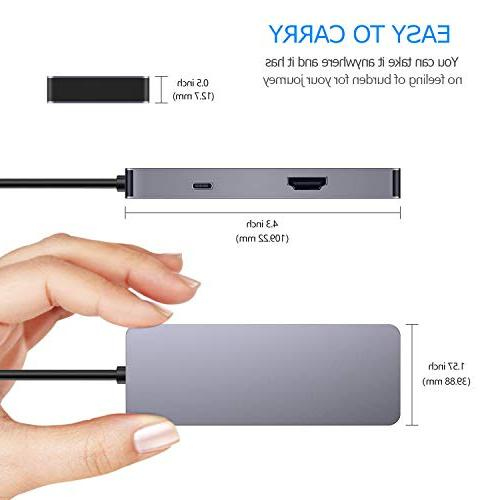GIKERSY Hub,7 in 1 Type Adapter with Charging 4K USB3.0/2 USB2.0 Ports, Card Reader,Compatible MacBook Air and Type C Devices