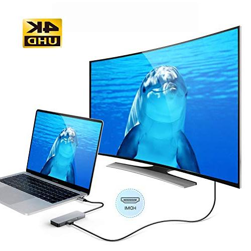 GIKERSY in 1 Adapter with Charging Port, 4K USB3.0/2 USB2.0 Ports, Card Air 2018/MacBook and C Devices