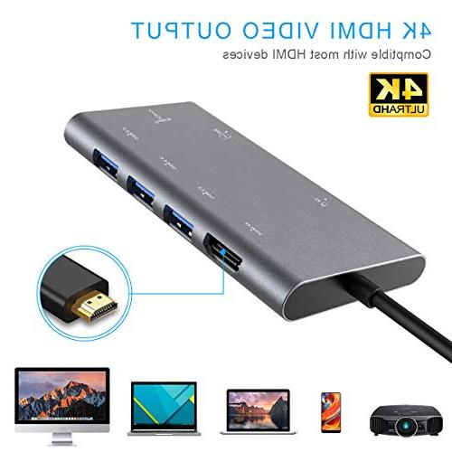USB Adapter in 1 USB-C Dock HDMI PD Card 3.0 for Chromebook, iPad pro USB C Devices