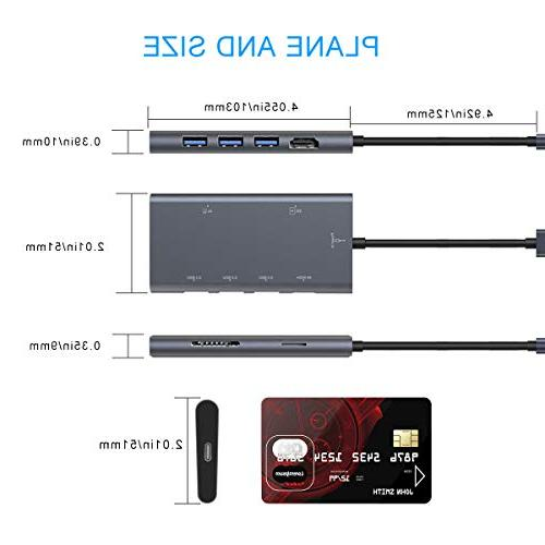 USB Hub,Premium Type-C Adapter 7 in USB-C Dock HDMI PD Card 3.0 Ports for Chromebook, iPad USB Devices