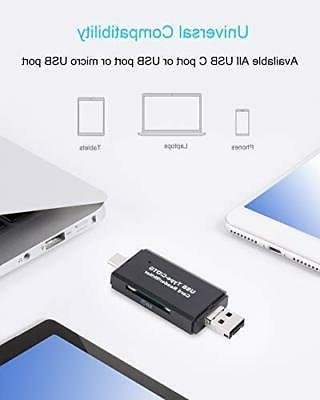 COCOCKA USB Card Reader, 3in1 USB to USB TypeC OTG and
