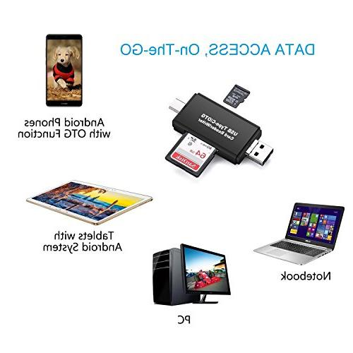 Vanja SD/Micro Reader, USB C Micro and USB 2.0 Portable Memory SDXC, SD, MMC, SD, SDHC Card and UHS-I Cards