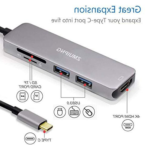 USB SD Card Reader MacBook Pro 2018, Surface Lenovo Yoga 5 in 1 Thunderbolt 3 SD/Micro SD 4K 2 3.0 Ports