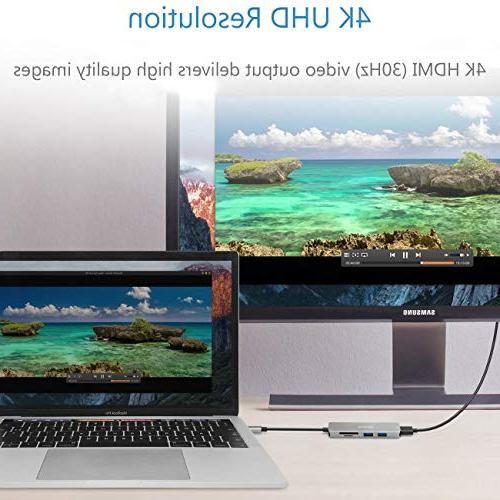 USB Reader HDMI Adapter for MacBook 2018/2017,MacBook Air 2018, Surface Book Lenovo in 1 Thunderbolt 3 Hub SD/Micro Card Reader, 4K HDMI, 3.0