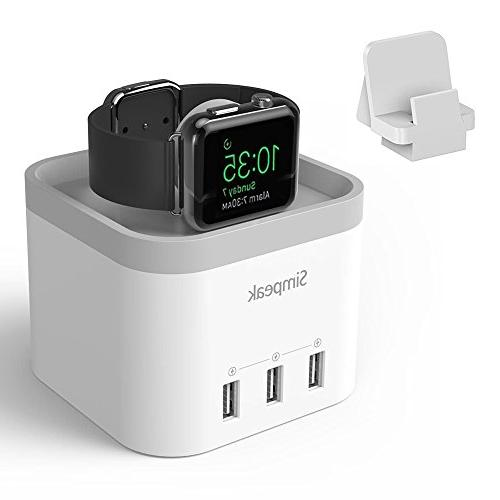 Simpeak 4 Port USB Charger Stand for Apple Watch 1/2/3, with