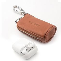 Leather AirPods Case, QIALINO Zipper Carrying Case for Apple