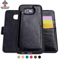 SHANSHUI Leather Wallet Case Compatible Samsung Galaxy S7, D