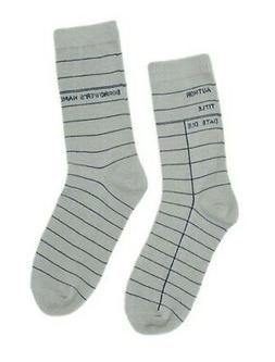 Out of Print Library Card Light Gray Socks Unisex Small