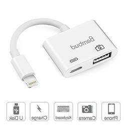 Bambud Compatible with iPhone iPad to USB Camera Adapter, US