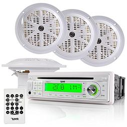 Pyle Marine Stereo Receiver & Speaker Kit with CD Player, AM