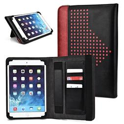 Maroon & Black Universal Tablet Folio Built-in Stand Case Fi