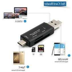Micro USB 3in1 Type-C Card Reader Hub For Phone Tablet SD TF