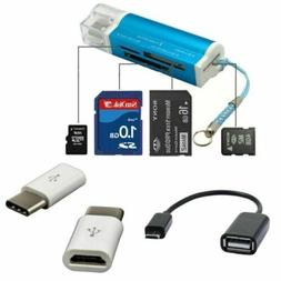 Micro USB OTG Cable + Type C to Micro Adapter TF SD Card Rea
